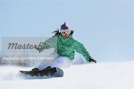 Woman doing Heelside Turn while Snowboarding