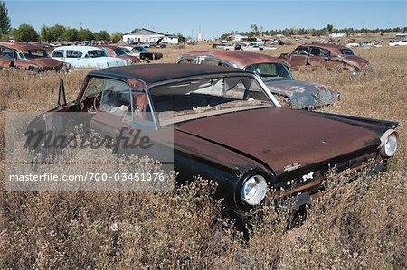 Voitures anciennes, abandonnées dans Junk Yard, désert au sud-ouest, le sud-ouest des Etats-Unis, USA