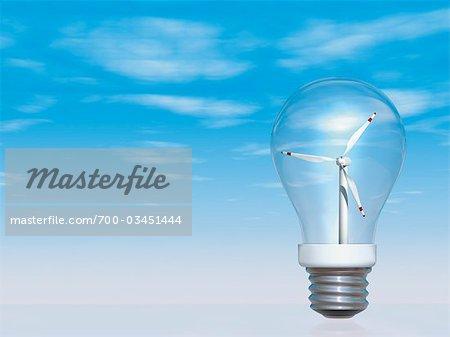 Turbine de vent à l'intérieur de l'ampoule électrique