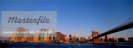 Manhattan skyline and Brooklyn Bridge, New York City, New York, USA, North America