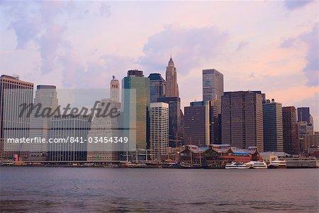 Lower Manhattan skyline at dawn, New York City, New York, United States of America, North America