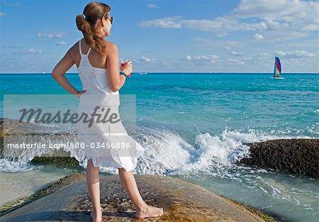 Woman at Beach, Playa del Carmen, Yucatan Peninsula, Mexico