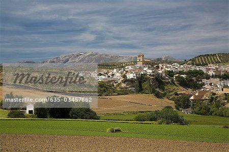 Vallée et ville, Alhama de Granada, Andalousie, Espagne