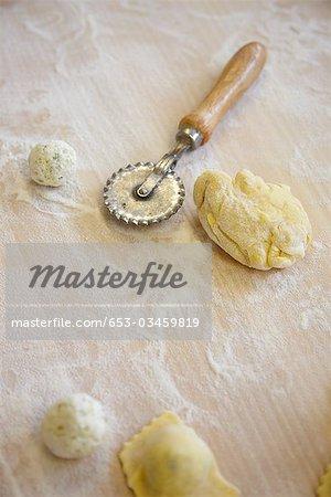 Ingrédients pour la fabrication de Kasnudeln, une spécialité de la Carinthie, Autriche