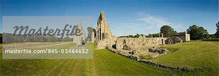 Ancienne abbaye de Bayham. Vue d'ensemble de l'abbaye montrant la nef, Quire et presbytère.
