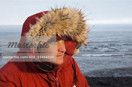 Close-up Portrait d'homme en Parka, McMurdo Station, île de Ross, Antarctique