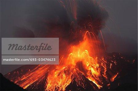 Molten lava erupts from Sakurajima, Kagoshima, Japan