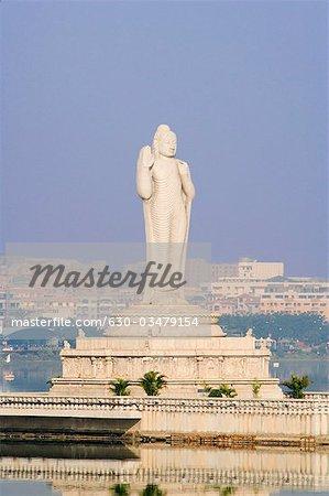 Statue of Buddha in a lake, Hussain Sagar, Hyderabad, Andhra Pradesh, India