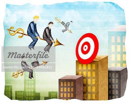 Sales Executives in Richtung eines Ziels auf Pfeile erreichen