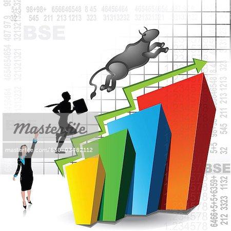 Représentation illustration montrant la hausse des marchés boursiers