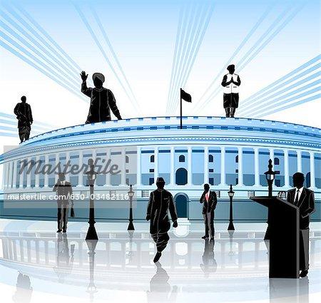 Political leaders around a government building, Sansad Bhawan, New Delhi, India