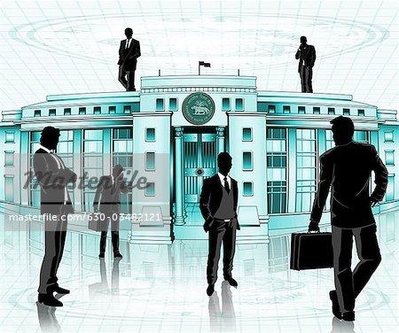 Geschäftsleute vor einer Zentralbank, die Reserve Bank of India, Mumbai, Maharashtra, Indien