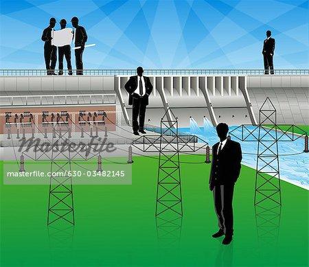 Architectes de discuter d'un plan d'action sur un barrage