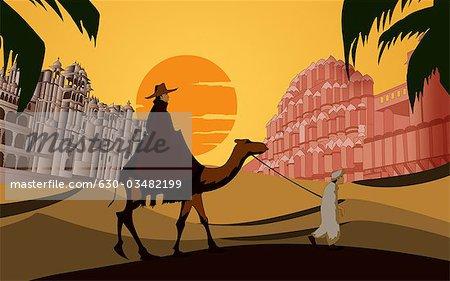 Tourisme chameau devant un palace, Hawa Mahal, Jaipur, Rajasthan, Inde