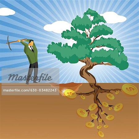Businessman digging for money near a money tree