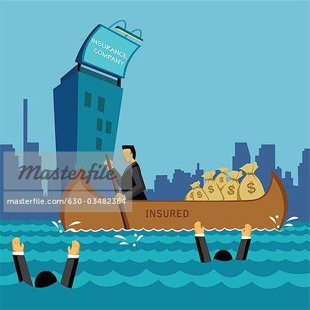 Kaufmann Reisen in einem versicherten Boot mit Geld-Taschen im Meer