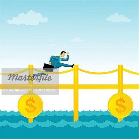 Kaufmann auf eine Geld-Brücke