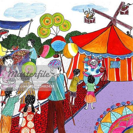 Kids enjoying in a fair