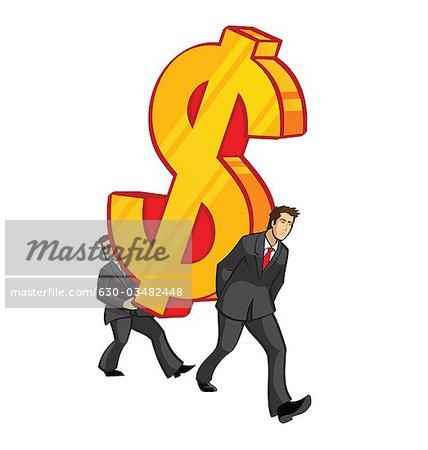 Zwei Geschäftsleute, die Durchführung einer übergroßen Dollarzeichen