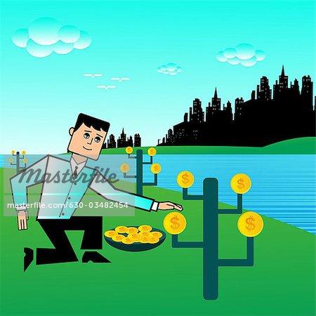 Kaufmann Ernte Geld am Flussufer