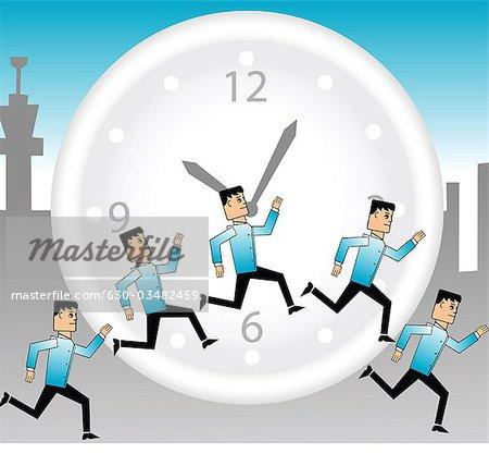 Abbildung der Unternehmer laufen rund um die Uhr