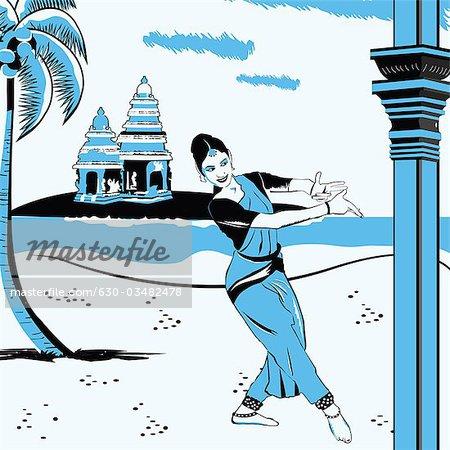 Woman performing Kuchipudi the Indian classical dance