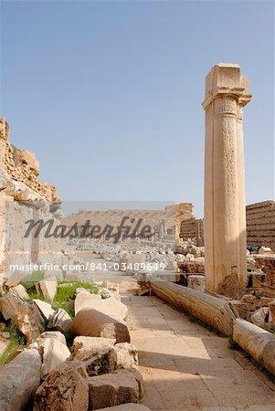 Via colonnata, Leptis Magna, UNESCO World Heritage Site, Libya, North Africa, Africa