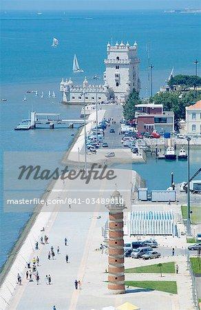 Vue aérienne de la tour de Belem, patrimoine mondial UNESCO, Belém, Lisbonne, Portugal, Europe