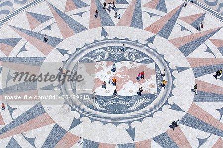 Boussole Mosaic, Monument aux découvertes, Belem, Lisbonne, Portugal, Europe