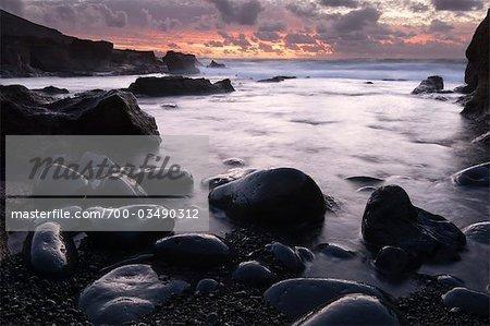 El Golfo bei Sonnenuntergang, Lanzarote, Kanarische Inseln, Spanien