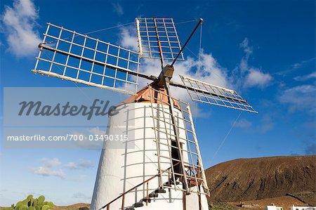 Moulin à vent dans le Jardin de Cactus, Guatiza, Lanzarote, îles Canaries, Espagne