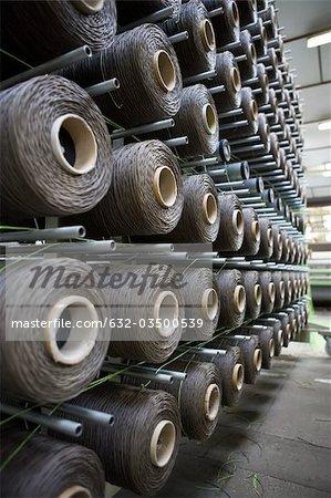 Usine de revêtement tissu tissage département, cantre depanage