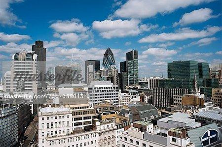 Vue d'ensemble du quartier financier, Londres, Angleterre
