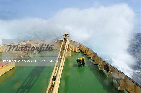Bow of Ship Crashing Through Waves, Drake Passage, Antarctica
