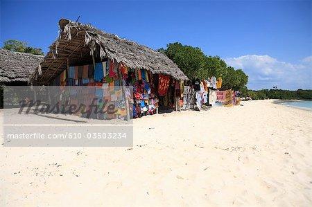 Tanzania, Kwale island, shop on the beach.