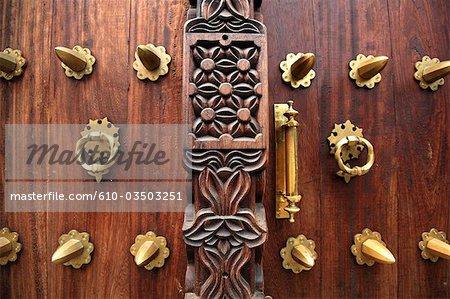 Tanzania, Zanzibar (Unguja island), Zanzibar city, Stone Town, close-up of a door.
