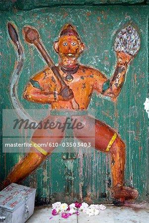 India, Haryana, Kurukshetra, representation of the monkey god.