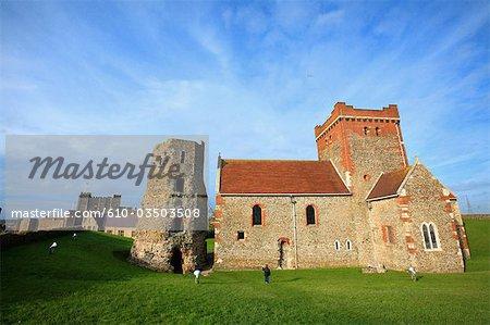 England, Saint Mary de Castro church and roman lighthouse of Dover castle.