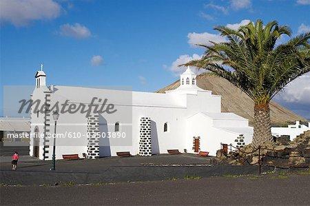 Espagne, Iles Canaries, Lanzarote, Tijano, église de nuestra Señora de los volcanes
