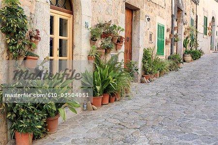 Espagne, Majorque, îles Baléares, Valldemossa, rue