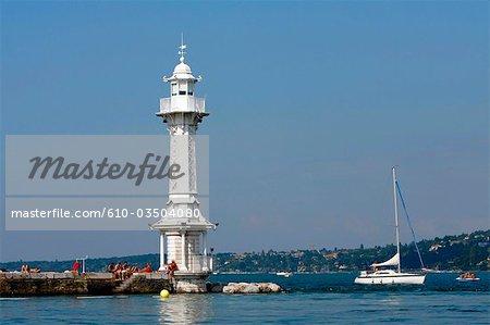 Suisse, Genève, bains des paquis, blanc phare