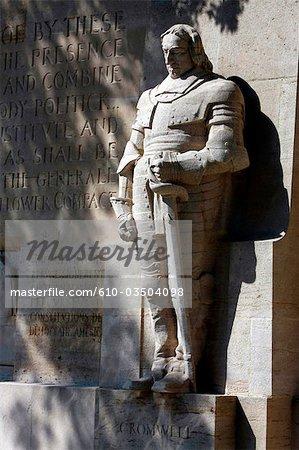 Switzerland, Geneva, parc des bastions, statue of Cromwell