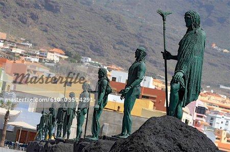 Espagne, Iles Canaries, Tenerife, Candelaria, statues