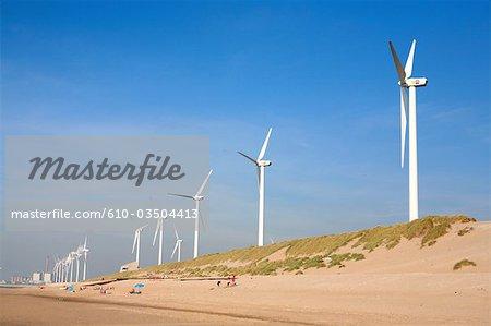 The Netherlands, South Holland, Rotterdam, Maasvlakte beach, wind machine