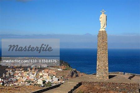 Spain, canary islands, Gomera, San Sebastian, Sagrado Corazon de Jesus and Tenerife in the background