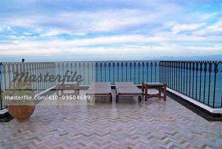 Terrasse de l'hôtel Tanger, Maroc,