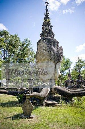 Thailand, near Nong Khai, temple of Kaewkoo, statue