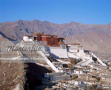 Le palais du Potala, ancienne résidence du Dalaï-Lama à Lhassa, au Tibet, Asie