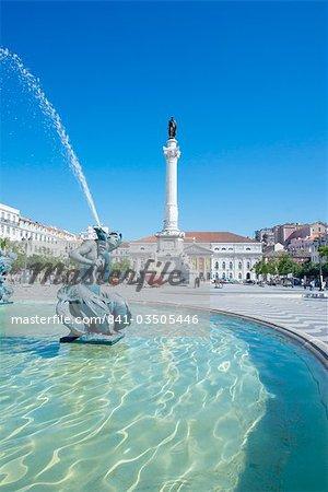 Praca Dom Pedro IV (Rossio Platz), Lissabon, Portugal, Europa & #13,