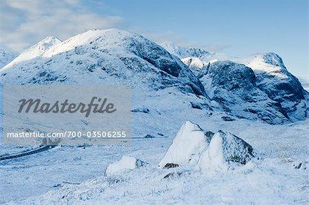 Three Sisters of Glen Coe in Winter, Scotland